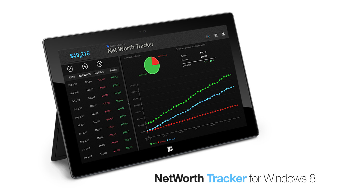 Net worth tracking software for Microsoft Windows 8 and Surface tablet
